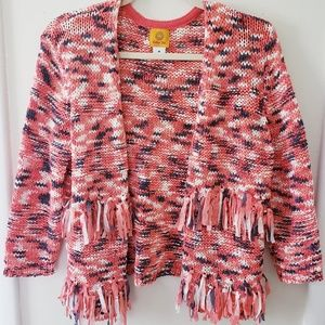 Coral white and navy fringed open cardigan
